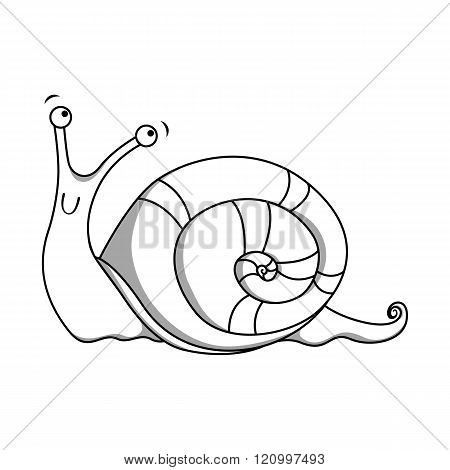 Cheerful spotted snail painted lines. Vector illustration
