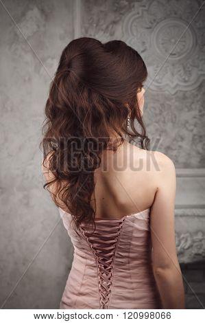 Studio Shoot Of Beautiful Bride's Hairstyle. Brunette.
