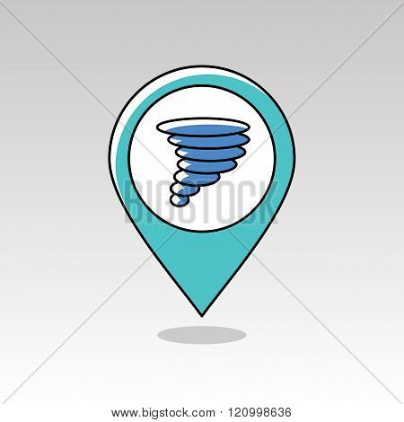 Tornado Whirlwind Pin Map Icon. Weather