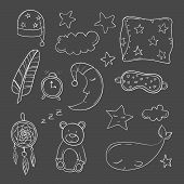 Set of elements about sleeping. Vector illustration poster