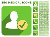 Valid User icon and 350 vector medical icons collection. Style is white and yellow flat symbols on rounded square green buttons with longshadow. poster