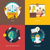Vector set of flat design illustration concepts for civics study, economics, earth and space sciences, psychology . Education and knowledge ideas. Concepts for web banner and promotional material. poster