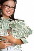 Smiling asian woman holding money poster