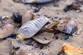Beach pollution. Plastic bottles and other trash on sea beach poster