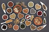 Health food with herb and spice selection for womens health over grey background. poster