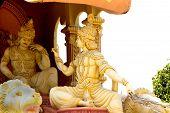 Statue of Lord Krishna encouraging gloomy Arjuna with his wise sermon at Viswashanti Ashram near Bengaluru Karnataka India Asia poster