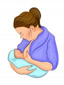 illustration of mom and her child. breastfeeding. poster