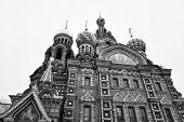 Savior on Spilled Blood Cathedral ( Spas na Krovi ) in St.Petersburg Russia. Black and white. poster