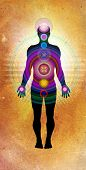 mixed media illustration of 7 body chakras in paper texture poster