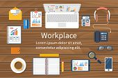 Workspace top view. Business office. Flat design vector illustration. Desk for: businessman designer student office worker. Workstation for financial transactions training planning marketing poster