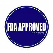 FDA APPROVED white stamp text on blue poster