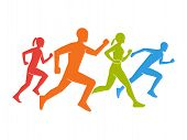 Colored silhouettes of runners. Flat vector figures marathoner. Flat running symbol. Vector running and marathon logo. Flat shapes runners. poster