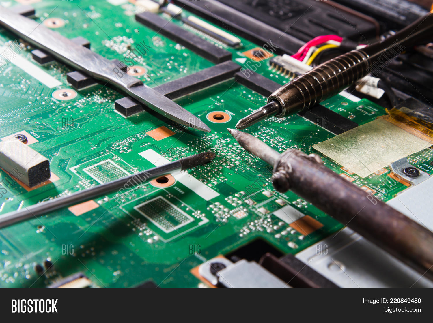 Printed Circuit Board Image Photo Free Trial Bigstock Soldering With Tools Green Screwdriver Iron Knife Close Up