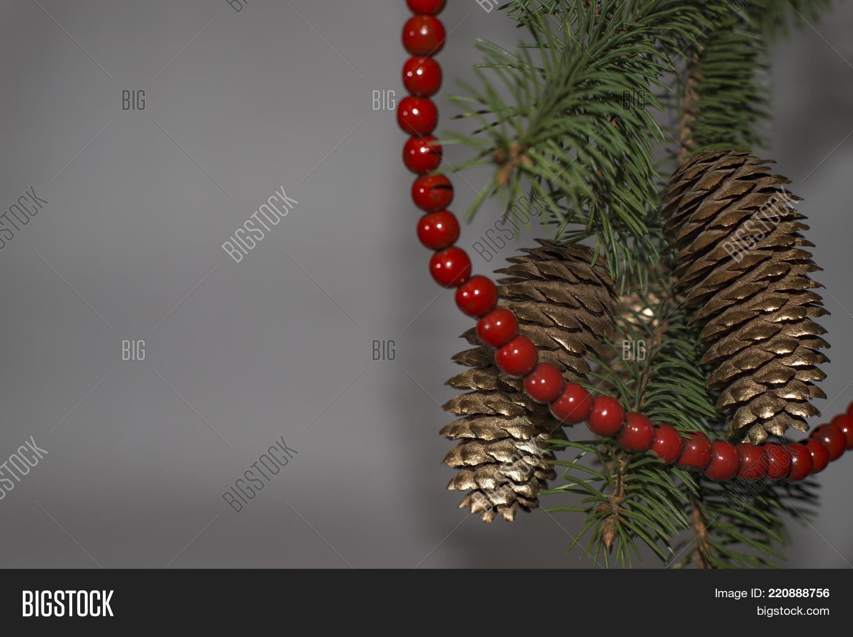 green christmas tree red beads image photo bigstock