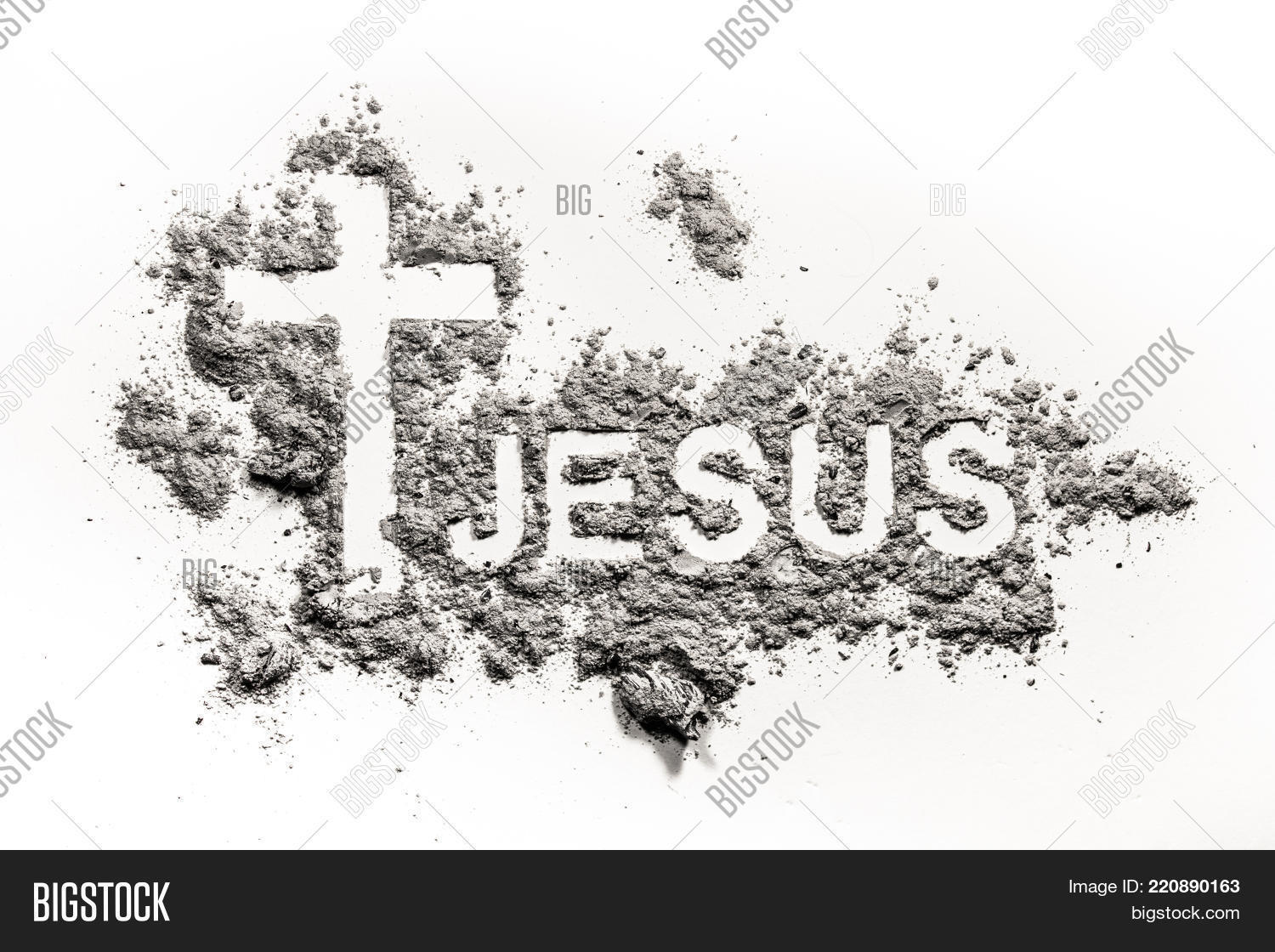 Word jesus christian cross crucifix image photo bigstock word jesus and christian cross or crucifix made in ash as lent ash wednesday buycottarizona