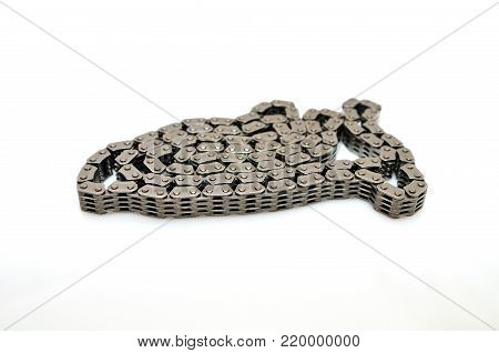 Car engine timing chain isolated on white background.