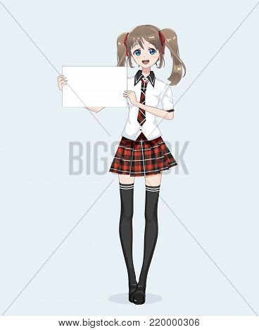 Japanese Asian woman holding white big sign board. Isolated full-length portrait. Cartoon anime manga schoolgirl character. White paper mockup
