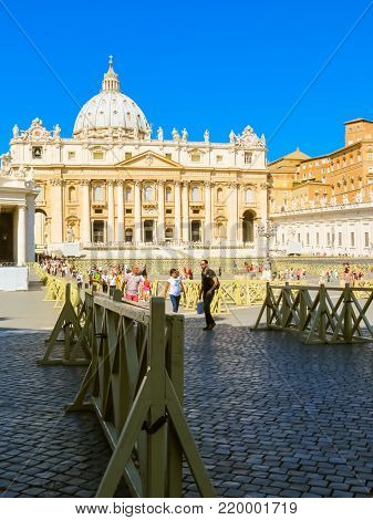 Saint Peter Square Before The Saint Peter Basilica Or Basilica Di San Pietro, Vatican City, Vatican