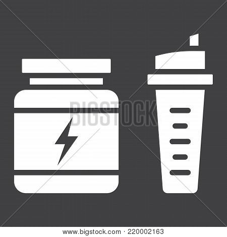 Whey protein with sports shaker glyph icon, fitness and sport, nutrition sign vector graphics, a solid pattern on a black background, eps 10.