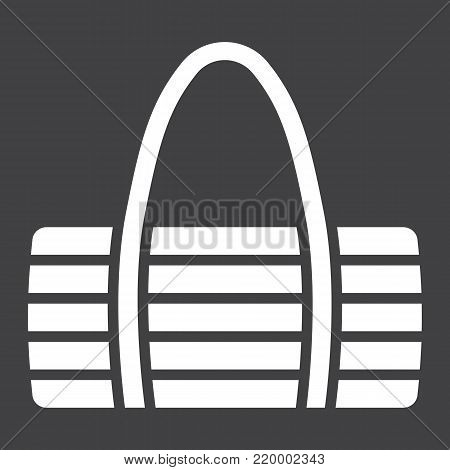Fitness bag glyph icon, fitness and sport, sport bag sign vector graphics, a solid pattern on a black background, eps 10.