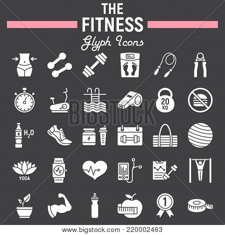 Fitness glyph icon set, sport symbols collection, vector sketches, logo illustrations, healthy diet signs solid pictograms package isolated on black background, eps 10.