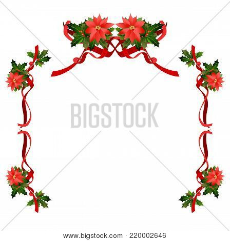 Christmas fesive poinsettia frame. Holiday image for design banner, ticket, invitation or card, leaflet and so on.