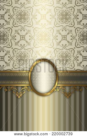 Vintage luxury background with decorative old-fashioned frame and patterns. Vintage invitation card design.