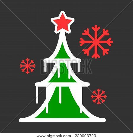 Dressed Christmass tree colorful linear icon. Black Christmass tree on black background. Vector eps10