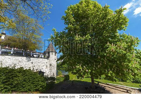 Rhein Waterfalls, Germany - April 2017: view on the fortress wall at the entrance