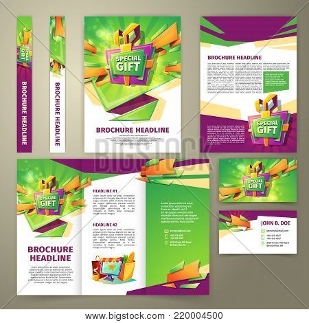 Vector flyer for sales promotion, banner, presentation brochure, magazine page, loyalty card, in cartoon style with gift box, green and purple elements. Advertising template for sales incentive