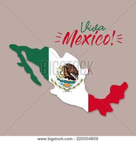 viva mexico poster with mexico map and flag colorful silhouette vector illustration