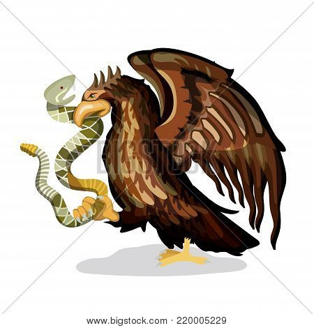 mexican flag emblem of colorful silhouette of eagle with rattlesnake in peak over white background vector illustration