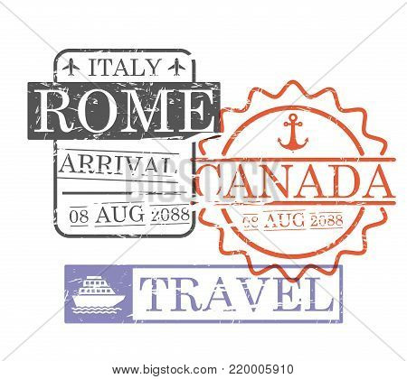 arrival ship travel stamps of rome and canada in colorful silhouette vector illustration