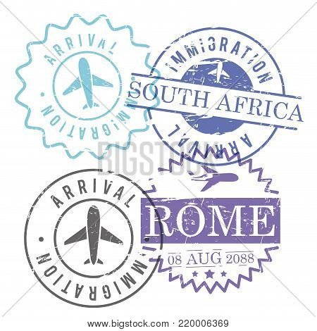 immigration and arrival travel circular stamps of rome and south africa in colorful silhouette vector illustration