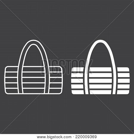 Fitness bag line and glyph icon, fitness and sport, sport bag sign vector graphics, a linear pattern on a black background, eps 10.