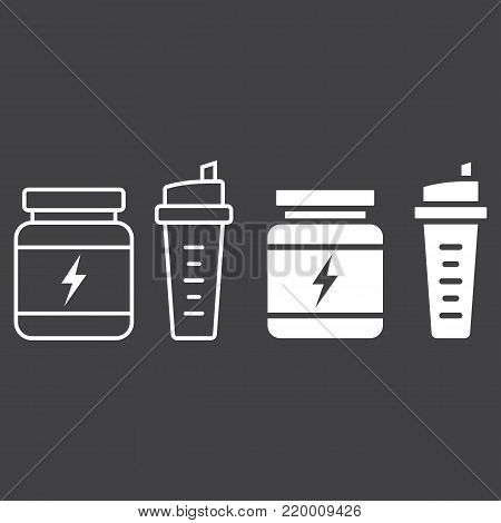 Whey protein with sports shaker line and glyph icon, fitness and sport, nutrition sign vector graphics, a linear pattern on a black background, eps 10.