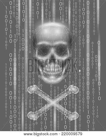 Jolly roger skull binary code numbers. Hacker piracy computer online attack alert. Scary warning hacking safety data security. Low poly polygonal triangle particle line 3d render vector illustration