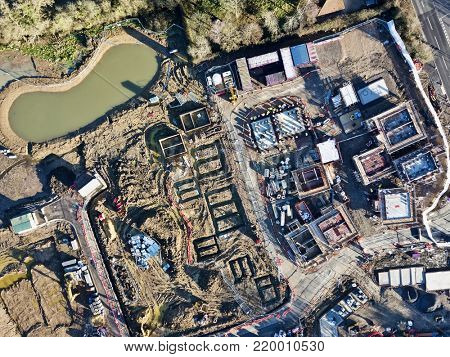 Residential housing estate under construction aerial photo