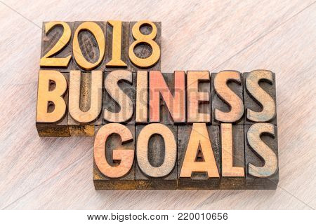 2018 business goals word abstract in vintage letterpress wood type
