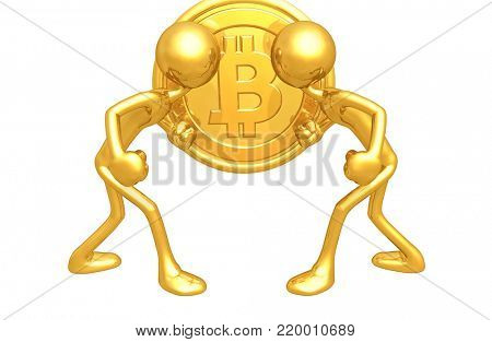 The Original 3D Character Illustration With A Bitcoin