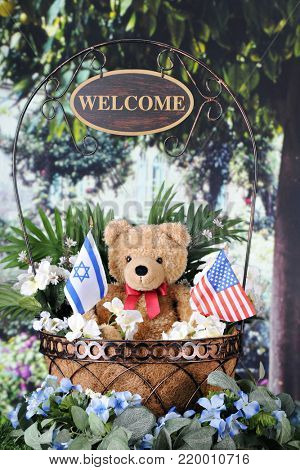 A basket containing ateddy bear holding Israeli and American flags.  It sits in a garden among other foliage and flowers.  A sign dangles from the handle saying,