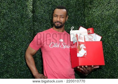 LOS ANGELES - DEC 14:  Isaiah Mustafa at the Old Spice Guy Hosts Holiday Gift Showcase at the Mondrian Hotel on December 14, 2017 in West Hollywood, CA