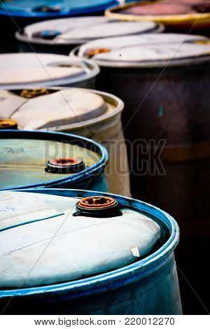 Old barrels, (focus on first barrel)