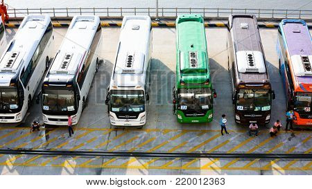 SAIGON September 8 2017: Tour buses lined up for cruise ship passengers at Phu My port Vietnam