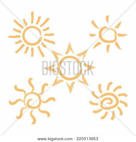 Abstract brush style sun Vector isolated summer icon design. Vector yellow sun symbol. Vector sun sun element. Sun weather icon vector sun logo isolated sign symbol