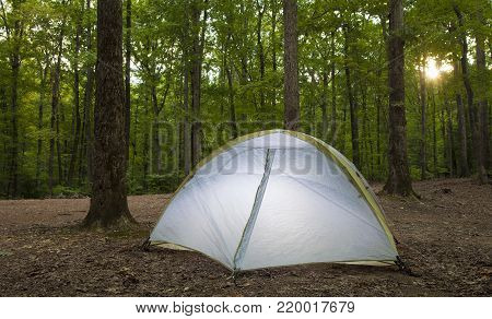 Tent at a remote campsite at sunset on Uwharrie National Forest