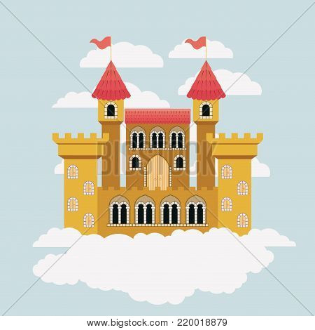 yellow castle of fairy tales in sky surrounded by clouds in colorful silhouette vector illustration