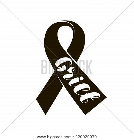 Black mourning ribbon. Lettering grief, typographic design vector