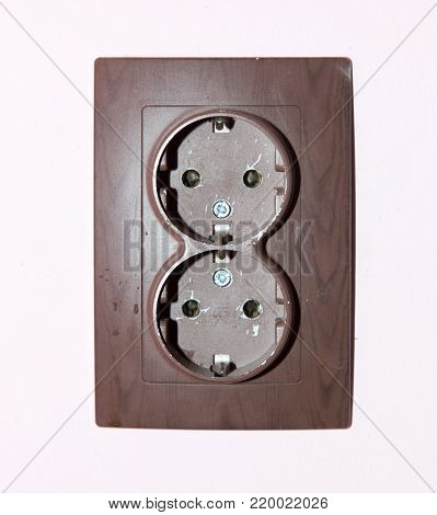 double socket on the wall . Photos in the studio