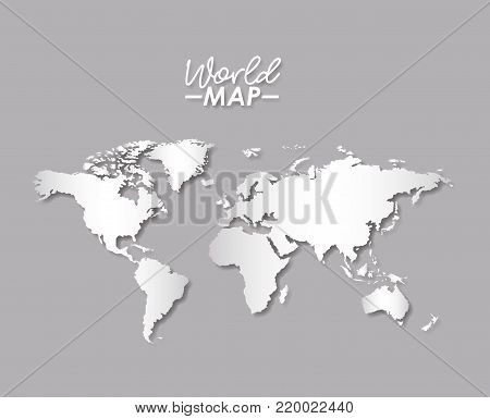 world map in grayscale color silhouette vector illustration